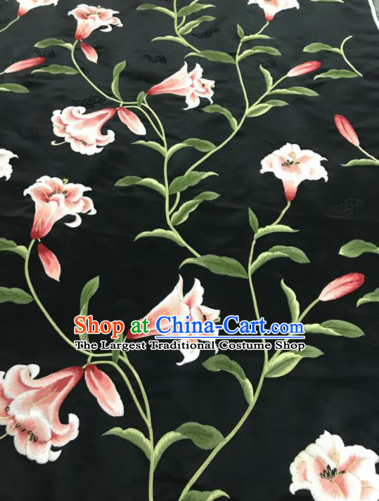 Asian Chinese Embroidered Greenish Lily Flower Pattern Black Brocade Fabric Traditional Cheongsam Silk Fabric Material