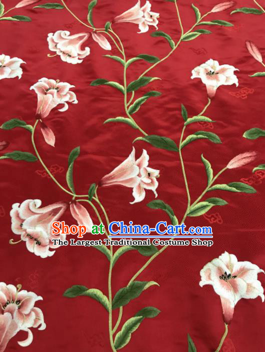 Asian Chinese Embroidered Greenish Lily Flower Pattern Red Brocade Fabric Traditional Cheongsam Silk Fabric Material