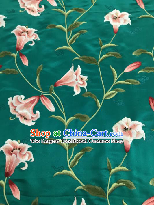 Asian Chinese Embroidered Greenish Lily Flower Pattern Green Brocade Fabric Traditional Cheongsam Silk Fabric Material