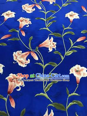 Asian Chinese Embroidered Greenish Lily Flower Pattern Royalblue Brocade Fabric Traditional Cheongsam Silk Fabric Material
