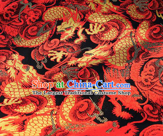 Asian Chinese Royal Red Dragon Pattern Brocade Fabric Traditional Silk Fabric Tang Suit Material