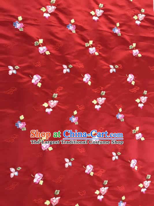 Asian Chinese Embroidered Begonia Flower Pattern Red Brocade Fabric Traditional Cheongsam Silk Fabric Material
