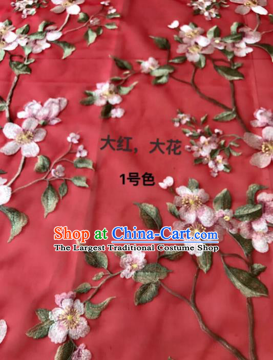 Asian Chinese Embroidered Peach Blossom Pattern Red Silk Fabric Material Traditional Cheongsam Brocade Fabric