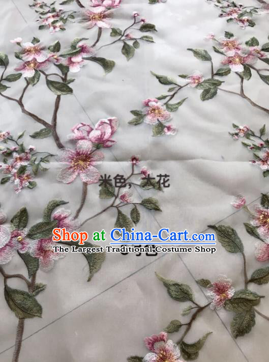 Asian Chinese Embroidered Peach Blossom Pattern Beige Silk Fabric Material Traditional Cheongsam Brocade Fabric