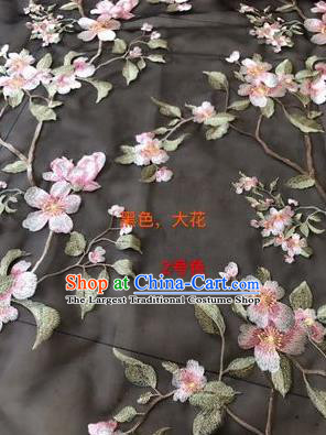 Asian Chinese Embroidered Peach Blossom Pattern Black Silk Fabric Material Traditional Cheongsam Brocade Fabric