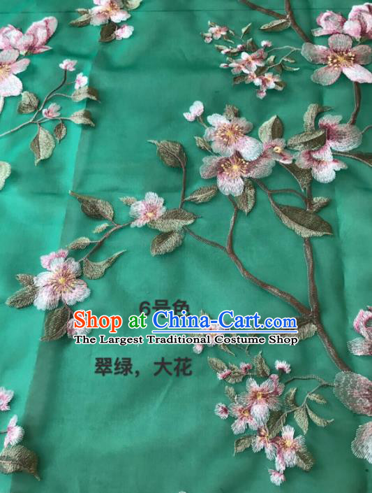 Asian Chinese Embroidered Peach Blossom Pattern Green Silk Fabric Material Traditional Cheongsam Brocade Fabric