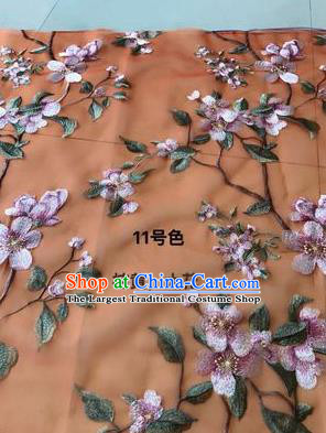 Asian Chinese Embroidered Peach Blossom Pattern Orange Silk Fabric Material Traditional Cheongsam Brocade Fabric