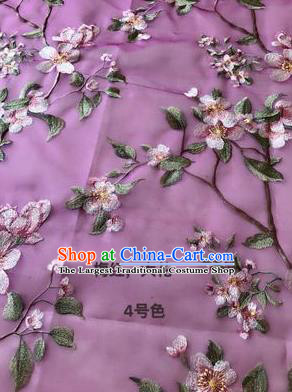 Asian Chinese Embroidered Peach Blossom Pattern Purple Silk Fabric Material Traditional Cheongsam Brocade Fabric