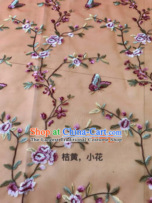Asian Chinese Embroidered Peach Flowers Pattern Orange Silk Fabric Material Traditional Cheongsam Brocade Fabric