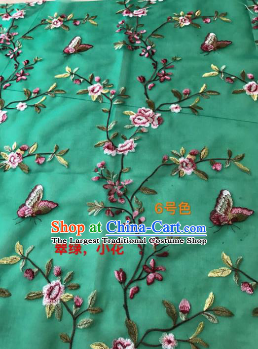 Asian Chinese Embroidered Peach Flowers Pattern Green Silk Fabric Material Traditional Cheongsam Brocade Fabric