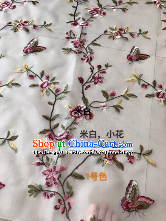 Asian Chinese Embroidered Peach Flowers Pattern White Silk Fabric Material Traditional Cheongsam Brocade Fabric
