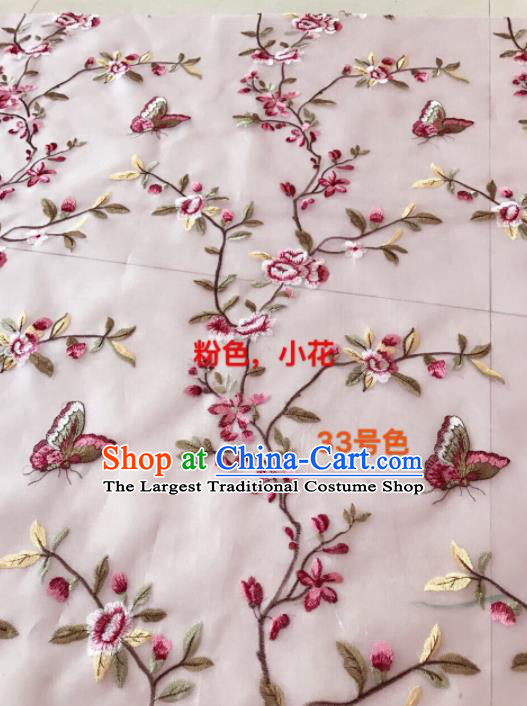 Asian Chinese Embroidered Peach Flowers Pattern Pink Silk Fabric Material Traditional Cheongsam Brocade Fabric