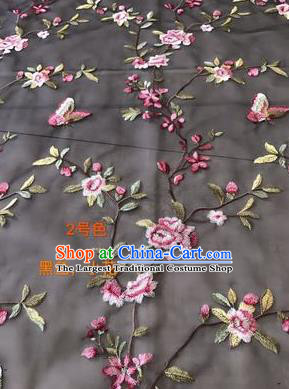Asian Chinese Embroidered Peach Flowers Pattern Black Silk Fabric Material Traditional Cheongsam Brocade Fabric