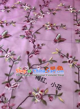 Asian Chinese Embroidered Peach Flowers Pattern Rosy Silk Fabric Material Traditional Cheongsam Brocade Fabric