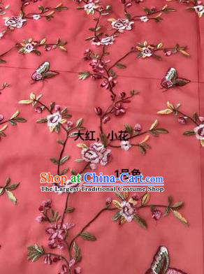 Asian Chinese Embroidered Peach Flowers Pattern Red Silk Fabric Material Traditional Cheongsam Brocade Fabric