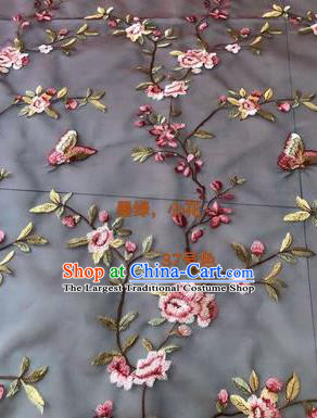 Asian Chinese Embroidered Peach Flowers Pattern Navy Silk Fabric Material Traditional Cheongsam Brocade Fabric