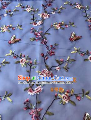 Asian Chinese Embroidered Peach Flowers Pattern Blue Silk Fabric Material Traditional Cheongsam Brocade Fabric