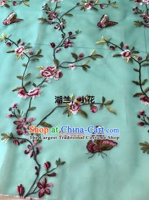 Asian Chinese Embroidered Peach Flowers Pattern Light Green Silk Fabric Material Traditional Cheongsam Brocade Fabric