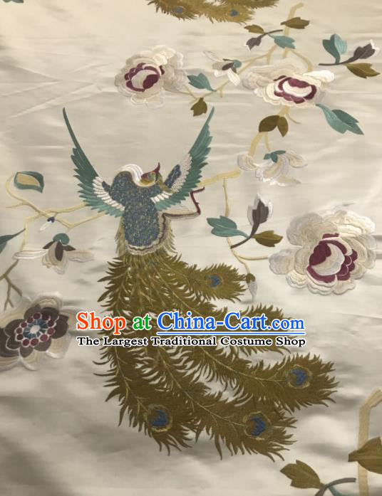Asian Chinese Embroidered Phoenix Peony Pattern White Silk Fabric Material Traditional Cheongsam Brocade Fabric