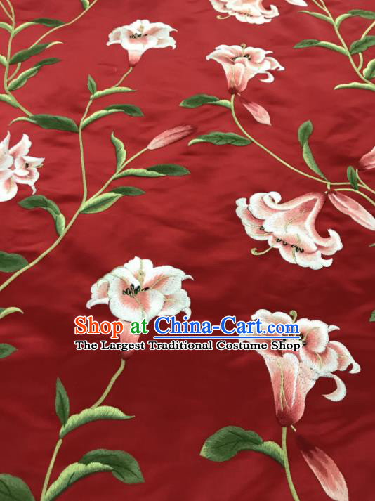 Asian Chinese Embroidered Lily Flowers Pattern Red Silk Fabric Material Traditional Cheongsam Brocade Fabric