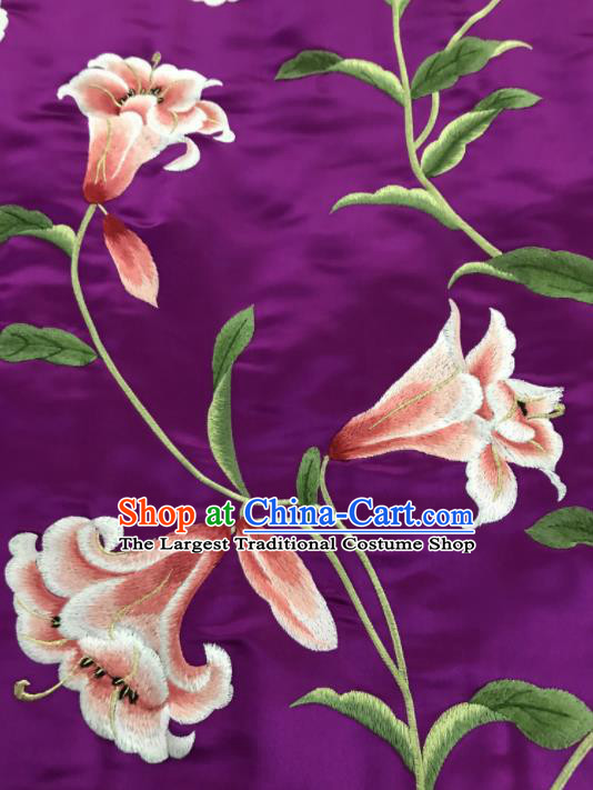 Asian Chinese Embroidered Lily Flowers Pattern Purple Silk Fabric Material Traditional Cheongsam Brocade Fabric