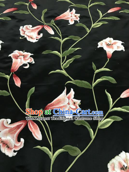 Asian Chinese Embroidered Lily Flowers Pattern Black Silk Fabric Material Traditional Cheongsam Brocade Fabric