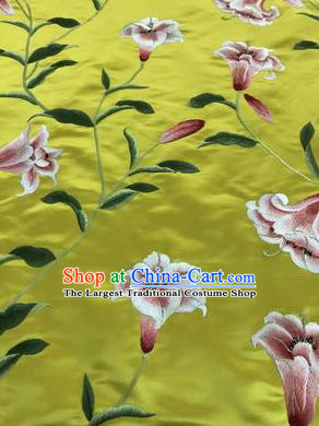Asian Chinese Embroidered Lily Flowers Pattern Yellow Silk Fabric Material Traditional Cheongsam Brocade Fabric