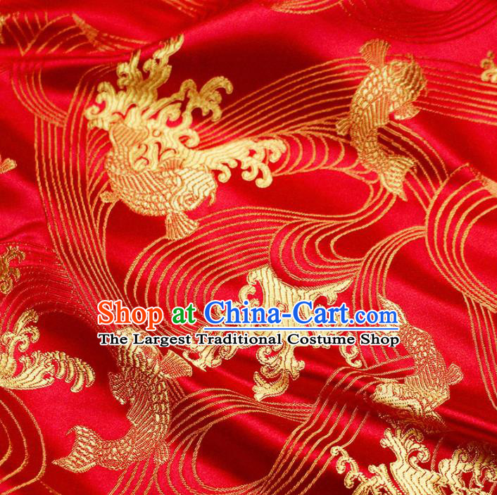Asian Chinese Royal Carp Pattern Red Brocade Fabric Traditional Silk Fabric Tang Suit Material