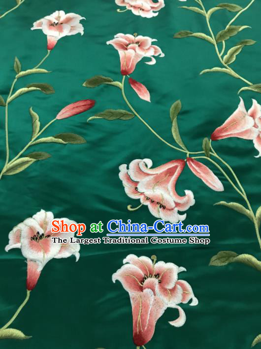 Asian Chinese Embroidered Lily Flowers Pattern Green Silk Fabric Material Traditional Cheongsam Brocade Fabric