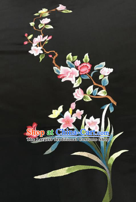Asian Chinese Embroidered Orchid Pattern Black Silk Fabric Material Traditional Cheongsam Brocade Fabric