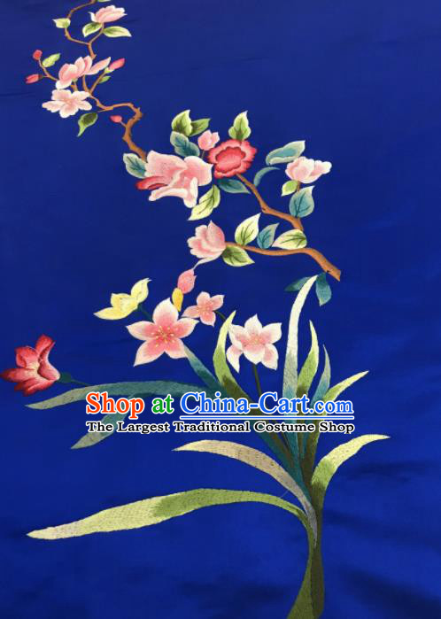 Asian Chinese Embroidered Orchid Pattern Royalblue Silk Fabric Material Traditional Cheongsam Brocade Fabric