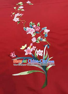 Asian Chinese Embroidered Orchid Pattern Red Silk Fabric Material Traditional Cheongsam Brocade Fabric