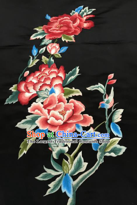 Asian Chinese Embroidered Peony Pattern Black Silk Fabric Material Traditional Cheongsam Brocade Fabric