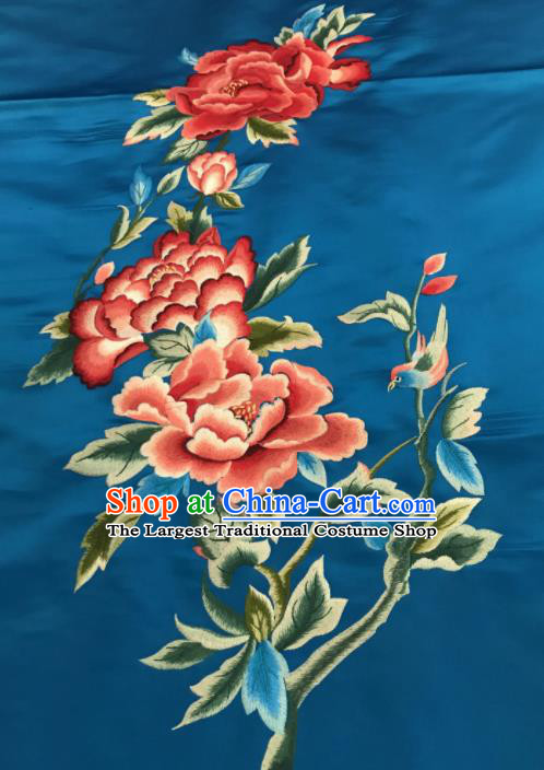 Asian Chinese Embroidered Peony Pattern Blue Silk Fabric Material Traditional Cheongsam Brocade Fabric