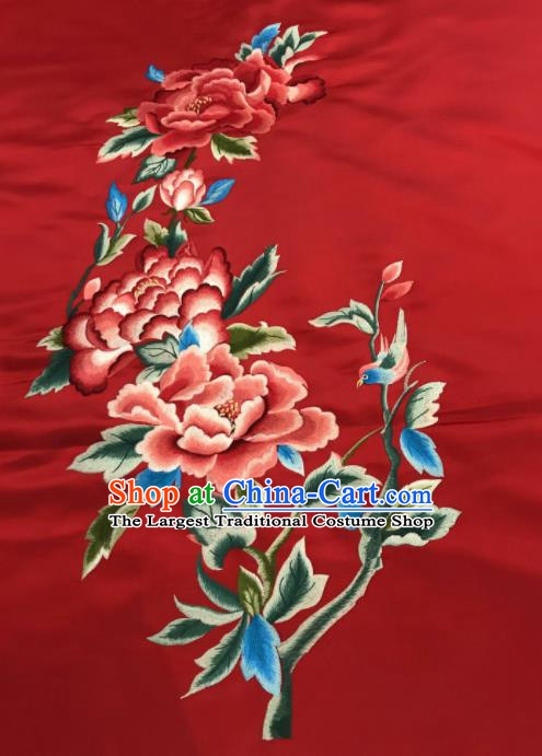 Asian Chinese Embroidered Peony Pattern Red Silk Fabric Material Traditional Cheongsam Brocade Fabric