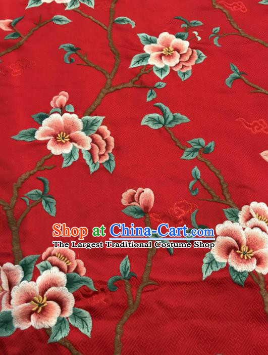 Asian Chinese Suzhou Embroidered Peach Blossom Pattern Red Silk Fabric Material Traditional Cheongsam Brocade Fabric