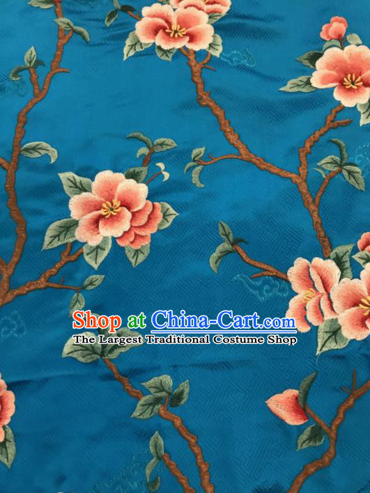 Asian Chinese Suzhou Embroidered Peach Blossom Pattern Blue Silk Fabric Material Traditional Cheongsam Brocade Fabric