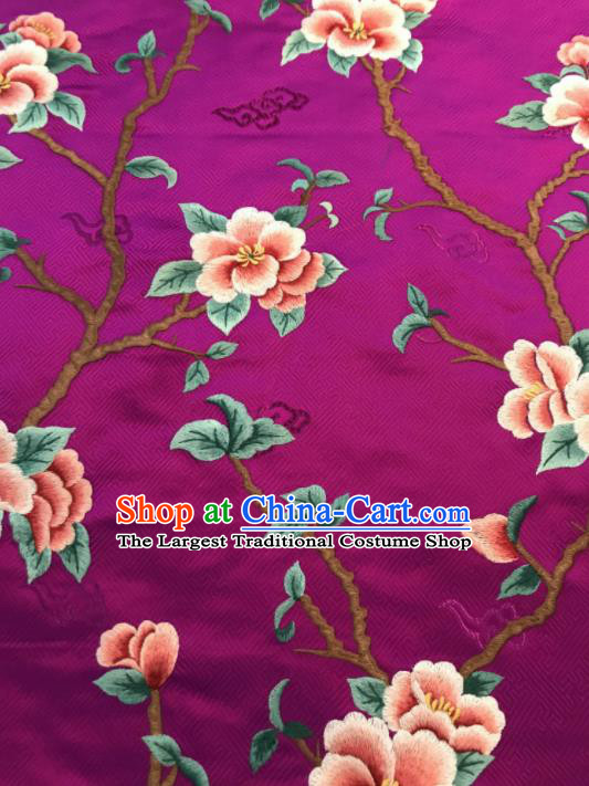 Asian Chinese Suzhou Embroidered Peach Blossom Pattern Rosy Silk Fabric Material Traditional Cheongsam Brocade Fabric