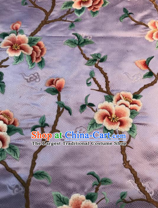 Asian Chinese Suzhou Embroidered Peach Blossom Pattern Violet Silk Fabric Material Traditional Cheongsam Brocade Fabric