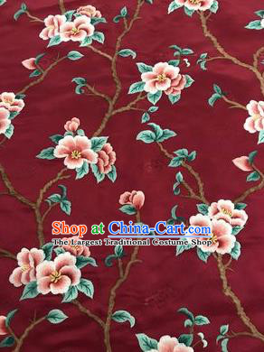 Asian Chinese Suzhou Embroidered Peach Blossom Pattern Purplish Red Silk Fabric Material Traditional Cheongsam Brocade Fabric