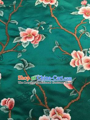 Asian Chinese Suzhou Embroidered Peach Blossom Pattern Green Silk Fabric Material Traditional Cheongsam Brocade Fabric