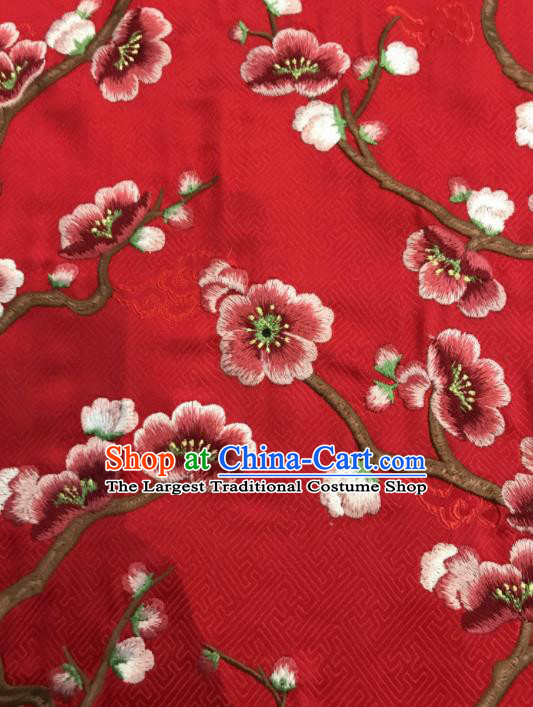 Asian Chinese Suzhou Embroidered Wintersweet Pattern Red Silk Fabric Material Traditional Cheongsam Brocade Fabric
