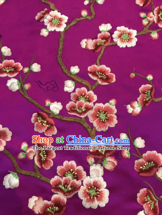 Asian Chinese Suzhou Embroidered Wintersweet Pattern Purple Silk Fabric Material Traditional Cheongsam Brocade Fabric