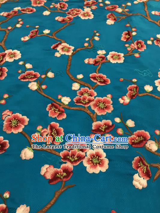 Asian Chinese Suzhou Embroidered Wintersweet Pattern Blue Silk Fabric Material Traditional Cheongsam Brocade Fabric