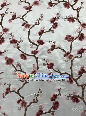 Asian Chinese Suzhou Embroidered Wintersweet Pattern White Silk Fabric Material Traditional Cheongsam Brocade Fabric