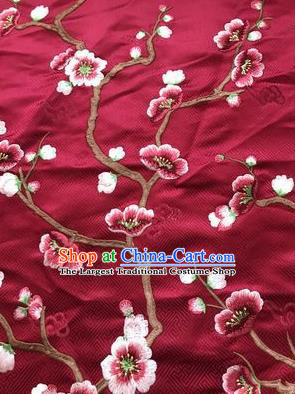 Asian Chinese Suzhou Embroidered Wintersweet Pattern Wine Red Silk Fabric Material Traditional Cheongsam Brocade Fabric