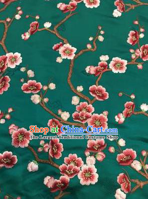 Asian Chinese Suzhou Embroidered Wintersweet Pattern Deep Green Silk Fabric Material Traditional Cheongsam Brocade Fabric