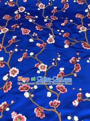 Asian Chinese Suzhou Embroidered Wintersweet Pattern Deep Blue Silk Fabric Material Traditional Cheongsam Brocade Fabric