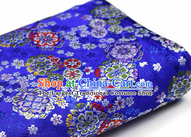 Asian Chinese Royal Cherry Blossom Pattern Royalblue Brocade Fabric Traditional Silk Fabric Kimono Material