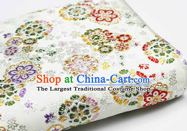 Asian Chinese Royal Cherry Blossom Pattern White Brocade Fabric Traditional Silk Fabric Kimono Material